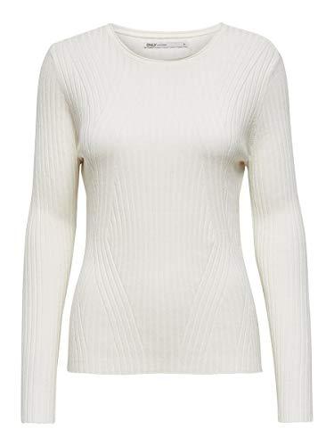 ONLY Damen Onlnatalia L/S Rib Knt Noos Pullover, Weiß (Cloud Dancer), S EU
