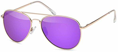 Hatstar Pilotenbrille Verspiegelt Fliegerbrille Sonnenbrille Brille mit Federscharnier (86   Rahmen Gold - Glas Lila verspiegelt)