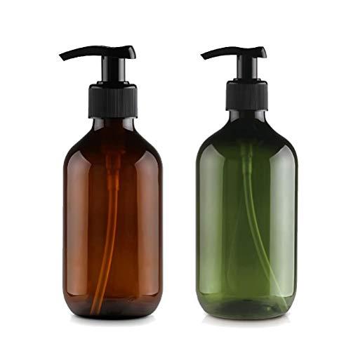 bubussv (6 Stück) 500ml Leer Grün/Amber Plastik Pumpe Lotion Flasche für ätherisches Öl Flüssigseife Duschgel Shampoo Massage-Öl