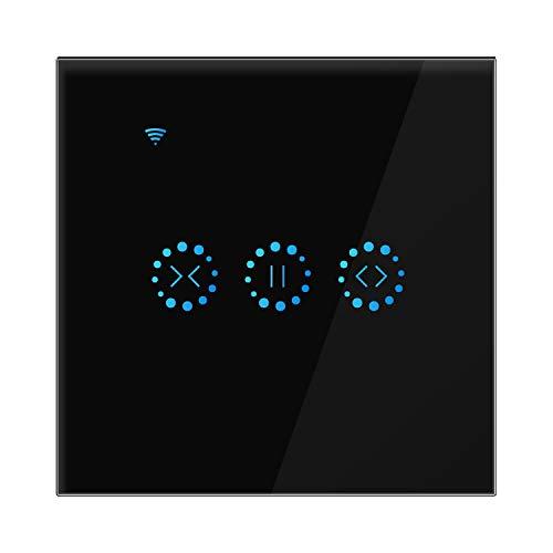 Konesky Smart Interruptor de cortina Interruptor inalámbrico Wifi Persianas eléctricas Interruptor de control táctil Interruptor de pared con temporizador Alexa Google Inicio Soporte (Negro)