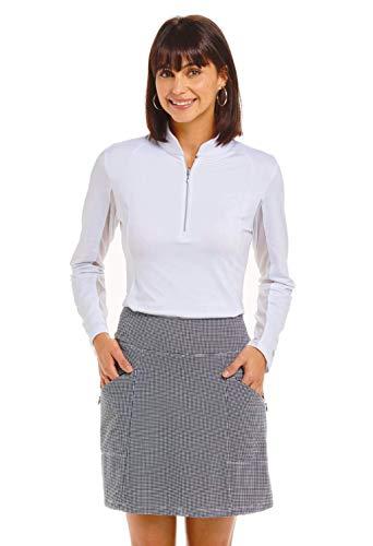 IBKUL Women's Sun Protective UPF50+ Icefil Cooling Mini Check Skort - 29754 Black/White Mini Check L