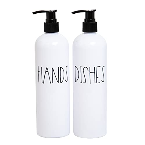 Heartland Lettering Hand and Dish Soap Dispenser Set for Kitchen, White Plastic Bottles, Farmhouse Kitchen Counter Decor and Organization