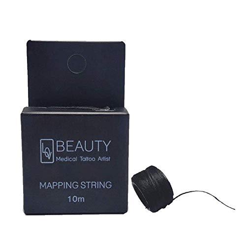 Yongirl Cuerda de mapeo de cejas pre-tintada, mapeador de cejas con cuerdas, cuerda entintada para microblading, hilo de carbón de bambú, herramienta de medición para marcar cejas simétricas