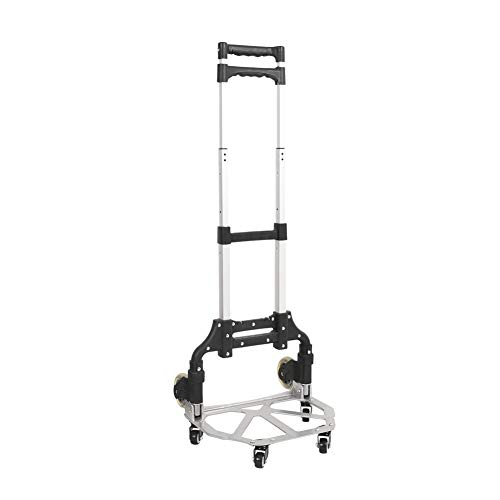 Sundale Outdoor Folding Hand Truck with Wheels and Hook Durable Utility Cart Retractable Portable Grocery Cart for Luggage, Shopping, Office Use, Heavy Duty Aluminum Frame, 155-Pound Capacity, Black