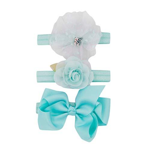Cuteelf Baby Mädchen-Stirnbänder Bowknot Haarschmuck für Mädchen Kinder Stoff Haarband Stirnbänder (0-4 Jahre) 3 Stücken Baby-elastischer Bogenzusatzhaarbandsatz der Kinder