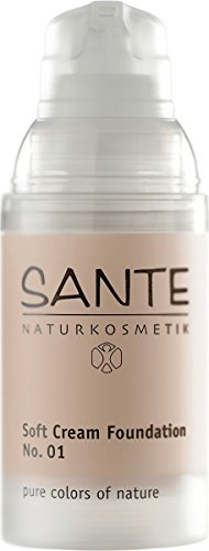 SANTE Naturkosmetik Soft Cream Foundation No. 01 porcelain, Samtig, ebenmäßiger Teint, Mit Mineralpigmenten, Cremige Textur, Vegan, 30ml