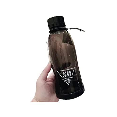 RYTR Botella de agua deportiva, botella de agua Tritan sin BPA/Vaso de agua deportivo de plástico portátil-negro_500ml/deportiva para gimnasio, entrenamiento, viajes, oficina.