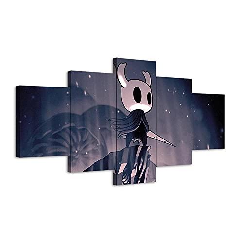 DFLZJJ Lienzos Decorativos 5 Piezas Póster Juego de Hollow Knight Cuadros Decoracion dormitorios Impresión HD Cuadros Decoracion XXL Murales De Arte Moderno con marco-150 * 80 CM
