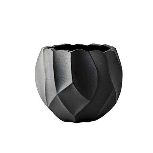 ZANZAN jarrones de cerámica florero de moda moderno minimalista decoración de la mesa contenedor de flores para sala de estar oficina (negro) jarrón decoración