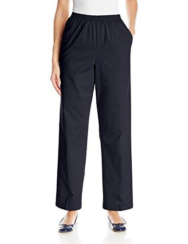 Alfred Dunner Women's Medium Twill Pants All Around Elastic Waist Cotton, Navy, 14
