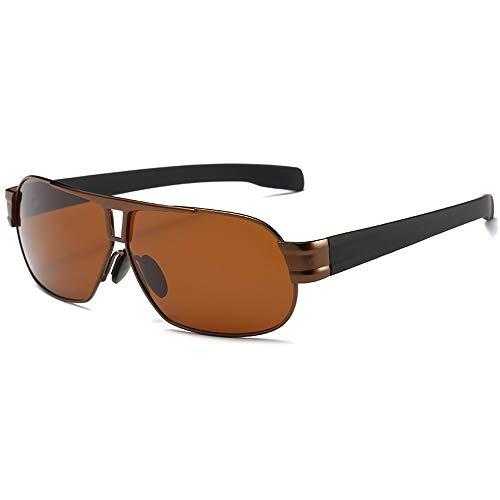 Faus Koco Gafas de sol polarizadas de moda para hombre con montura dorada/marrón (color: marrón)