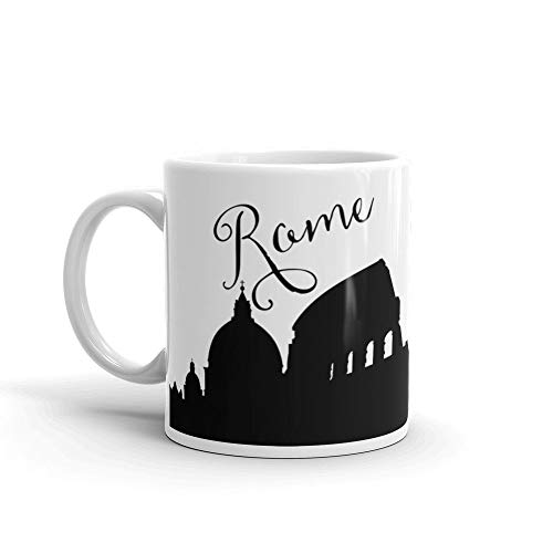 Rome Skyline - Taza de café (325 ml), diseño de jefe, color negro y blanco