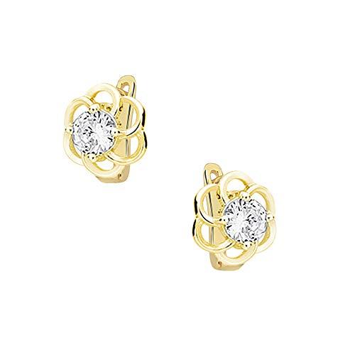 * Oro Cavallo * – Orecchini a forma di fiore dorato – in vero argento 925 – bellissimi orecchini da donna con cristalli di Swarovski Elements – meravigliosi orecchini! !