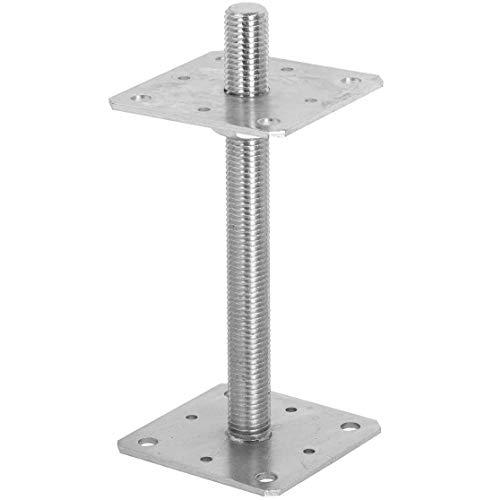 ADGO Poste de Base Cuadrada Ajustable con un Tornillo 110 x 110 mm, Soporte de Anclaje para Poste, Fijación del Ancla al Tornillo con Ajuste de Altura, Hoja de Acero Galvanizado Plateado, 1 pieza