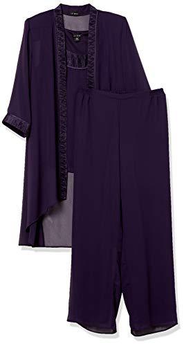 Le Bos Women's Plus Size FORTUNY Trim Long Jacket Pant Set, Eggplant, 18W