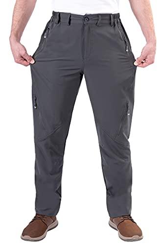 Postropaky Mens Hiking Quick Dry Lightweight Waterproof Fishing Pants Outdoor Travel Climbing Stretch Pants (Dark Gray, 34W x 32L)
