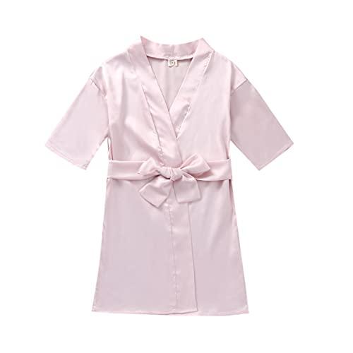 Bambini Raso Kimono Robe Fiore Ragazza Puro Colore/Floreale Accappatoi per Spa Nozze Compleanno Festa Regali Biancheria Da Notte Accappatoio rosa chiaro 5-6 Anni