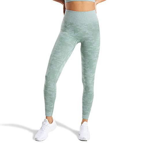 WodoWei Women's High Waisted Camo Seamless Leggings 7/8 Length Workout Yoga Pants (W426-sage Green-S)