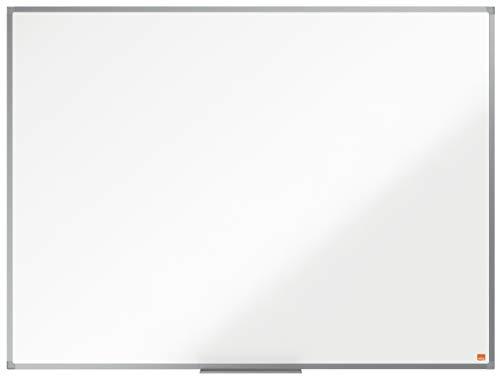 Nobo Lavagna Bianca Magnetica in Acciaio Laccato, 1200 x 900 mm, Cornice in Alluminio, Sistema di Montaggio ad Angolo, Incl. Vaschetta Porta Accessori, Gamma Essence, Bianco, 1905211
