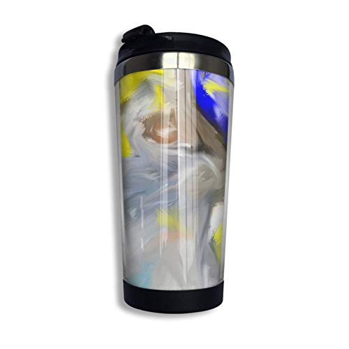 Stainless Steel Travel Coffee Cup, T-Shirt Colored Illustrations About Basketball Travel Mug Coffee Cup Stainless Steel Vacuum Insulated Tumbler 13.5 Oz
