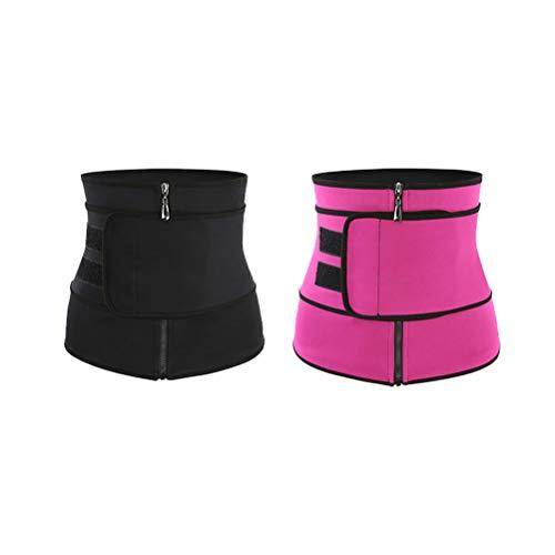 Hemoton 2 piezas de cintura deportiva práctico corsé para mujer, cinturón adelgazante, moldeador de cuerpo, talla S (negro rosado)