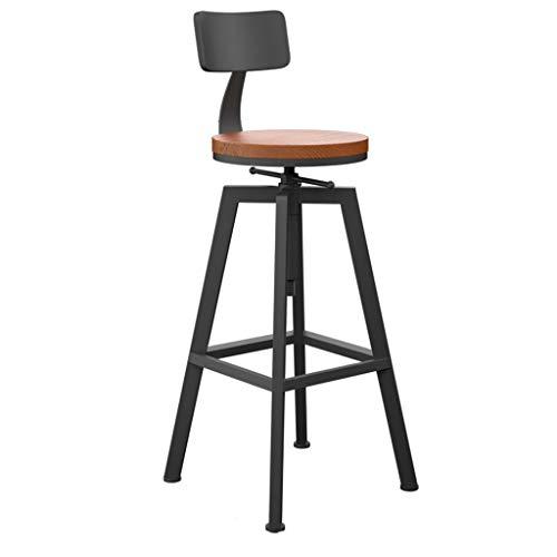 PPOSH Silla alta retro con base de estructura de hierro silla de comedor con respaldo taburete de barra estilo industrial altura giratoria ajustable elevación adecuada para cocina bar café restaurante