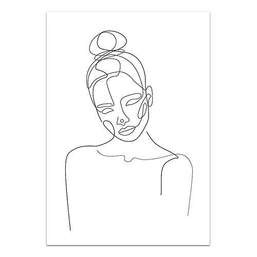 U/N Decoración de Impresiones Pintura nórdica línea en Blanco y Negro imágenes de Mujer Arte de Pared Cartel de Lienzo Modular Fondo de cabecera Moderno-1