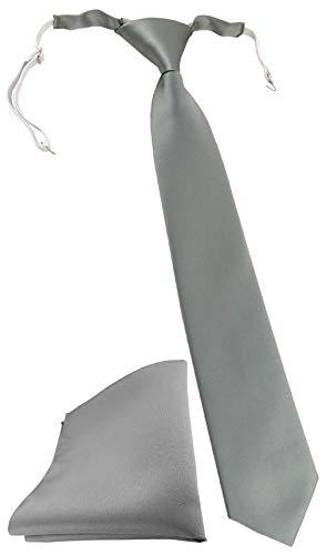 TigerTie Security Sicherheits Krawatte + Einstecktuch in grau einfarbig Uni - vorgebunden mit Gummizug