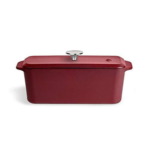 Stampo a scatola in ghisa con coperchio 34 x 12 cm, stampo da forno, teglia per pane - rosso