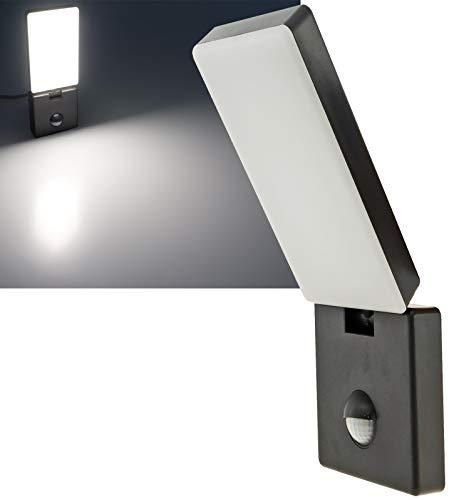 LED Aussenleuchte mit Bewegungsmelder Grau Anthrazit 15W 1100Lumen IP44 Flach Flexibel 300° Drehbar 85° Neigbar 4000k / Neutralweiß