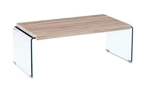 HABITMOBEL Mesa de Centro de Madera y Cristal Curvado, 110x55 cms