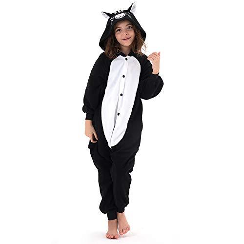 Beauty Shine Kids Onesies Unisex Child Animal Costume Halloween Cosplay Pajamas (4T, Black Cat)
