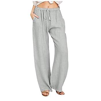 Maryia Womens Casual Wide Leg High Waist Pants Cotton Linen Drawstring Regular Fit Straight Trouser Plus Size Sleepwear Gray
