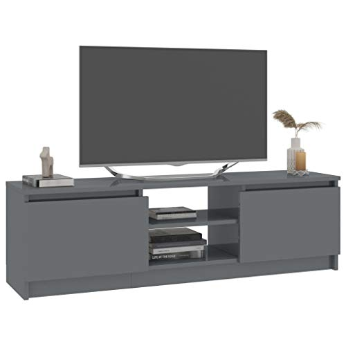 Tidyard Mueble para TV de aglomerado Mesa para TV Diseño Moderno Aparador para TV Mueble TV Salón Mesa Televisión Mueble Comedor Televisor, Gris Brillante 120x30x35,5 cm