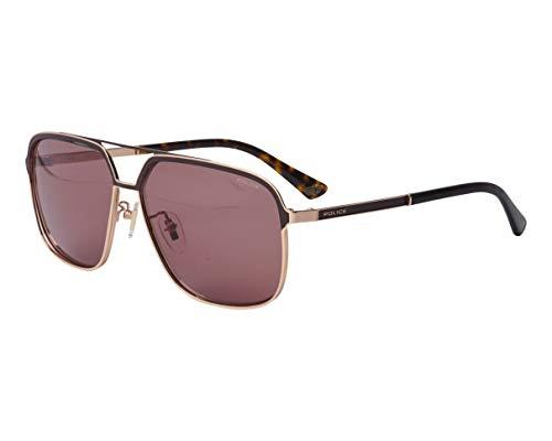 Police Record 3 SPL-A-58 300Y - Gafas de sol, color dorado, marrón oscuro, gris y marrón