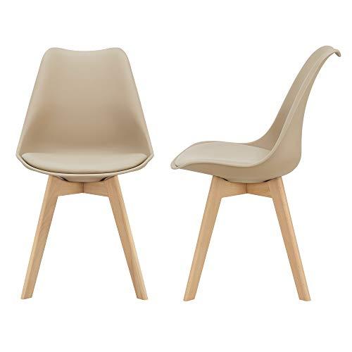 [en.casa] 2er-Set Design Esszimmerstühle 81 x 49cm Beige PU-Kunstleder Polsterstuhl Stühle Wohnzimmerstuhl Küchenstuhl