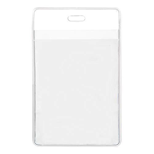 Karteo® Ausweishülle DIN A7 (105 x 74 mm) | Front- und Rücktasche | Ausweishalter vertikal aus Vinyl Plastik | Kartenhülle transparent | Kartenhalter Weichplastik für Ausweise Dienstausweise