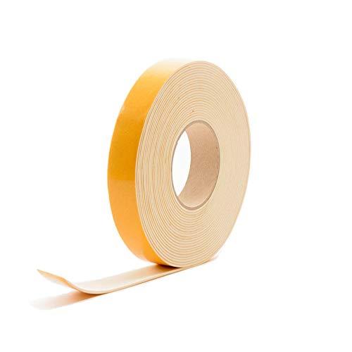EPDM Zellkautschuk selbstklebend weiß 25x6mm | Weiss | Zellkautschukbänder | Moosgummi selbstklebend Dichtungsband | Zellkautschuk Rolle (10 Mtr)