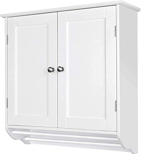 VEIKOU Wall Mounted Medicine Cabinet for Bathroom Storage with Two Doors and Shelves, White