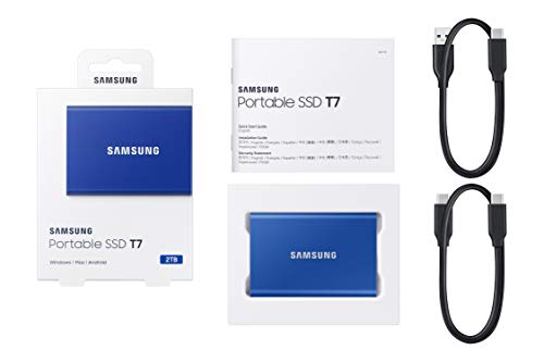 Samsung T7 Portable SSD - 2 TB - USB 3.2 Gen.2 Externe SSD Indigo Blue (MU-PC2T0H/WW)