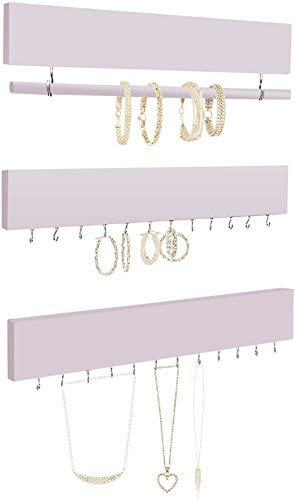 Comfify Rustikale Schmuck Display Veranstalter für Wand - Wand montiert Schmuck Halter Veranstalter mit abnehmbaren Armband Stab und 24 Haken - Perfekte Ohrringe und Armbänder Halter - Rosa