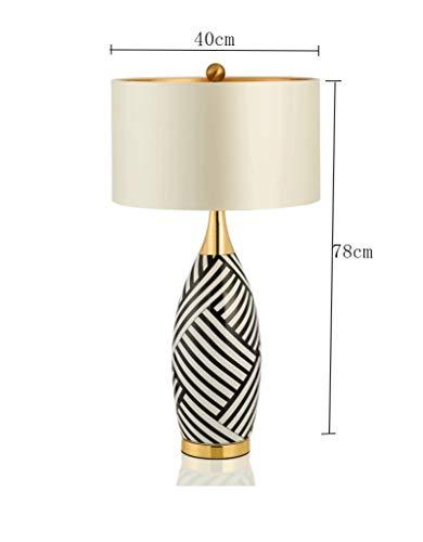 Lámpara de Mesa, Zebra Patrón Cerámica Dormitorio de Estilo Americano Lámpara de Cabecera Sala de Estar de Estilo Europeo Sala de Muestras 40 Y Tiempos; 78Cm Ahorro Energético Y Protección Del Medio