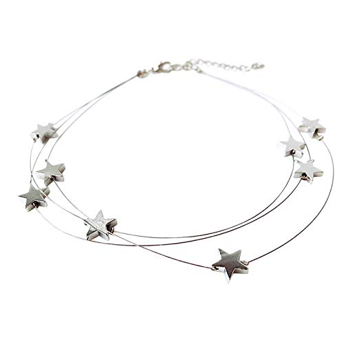 jieGorge Sexy three-layer star necklace with multi-layer five-pointed star necklace, Necklaces & Pendants, Products for Christmas Day (Silver)