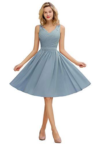MisShow Damen elegant A Linie Ballkleider Knielang Festlich Partykleider Abschlusskleider Grau-Blau 38