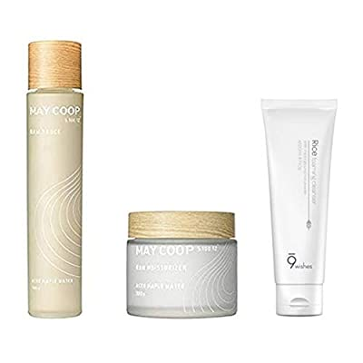 Skin Care Set - 9 wishes Rice Foaming Cleanser, May Coop Raw Sauce + Raw Moisturizer