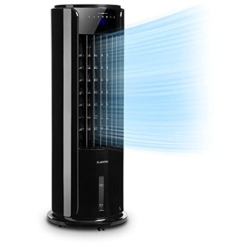 KLARSTEIN Skyscraper Horizon - Climatizador evaporativo 3 en 1: Enfriador de Aire, ventila y humidifica, 3 potencias, Panel de Control Touch, 60 W, Depósito Agua: 3,5 L, función oscilación, Granito