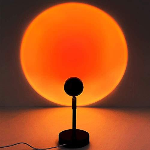 MX kingdom Sunset Lamp,Sunset Proyección LED Proyección, Rotación 180°, Romántico Visual, Proyector de Puesta de Sol, USB, lámpara de pie Moderna, lámpara de Noche para salón