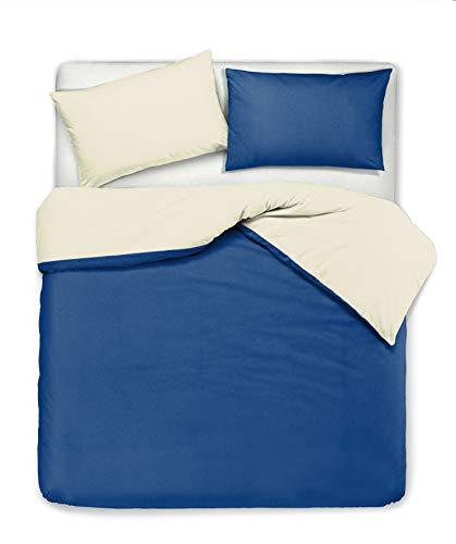 Novilunio - Juego de funda nórdica y fundas de almohada, bicolor, reversible, de algodón, fabricado en Italia, para cama de matrimonio, beige y azul