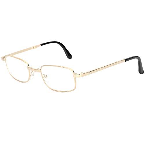 GUAWJRZDP Gafas De Lectura Plegables Portátiles,Lector De Computadora con Bloqueo Azul,Gafas Ópticas Antideslumbrantes,Adecuadas para Leer Viajes De Oficina En Computadora (Dorado Y Plateado)