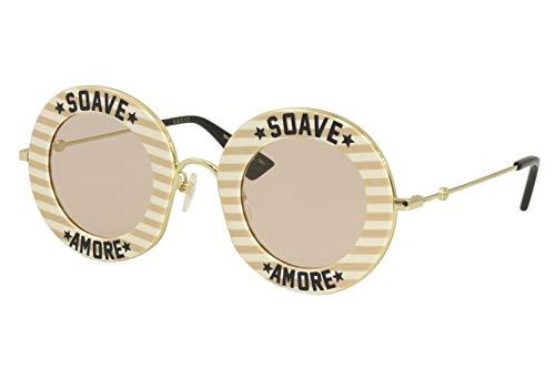 Gucci GG0113S-009-44 Gafas, Hautfarben Mix/Gold, 60.0 Unisex Adulto